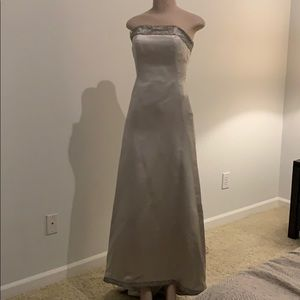 Silver Satin Italian Wedding Dress with crown
